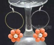 SALE Fashion white pearl and Pink Coral & 28mm metal Ring Dangle Earring-ear607