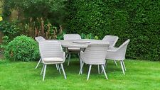 All Weather San Pedro Poly Rattan Garden Furniture - Round Dining Table 6 Chairs