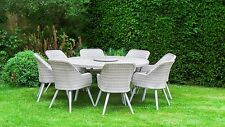 All Weather San Pedro Poly Rattan Garden Furniture - Round Dining Table 8 Chairs