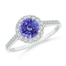 Round Cut Tanzanite Halo Ring with Diamond Accents 14K White Gold Size 3-13