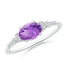Oval Amethyst Solitaire Ring with Diamond Accents White Gold/ Silver Size 3-13