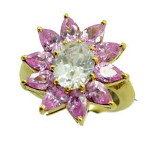 Pink CZ Gold Plated Ring handsome Pink jewellery AU K,M,O,Q