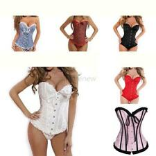 Women Lace Up Bustier Basques Corset Lace Lingerie Sets Free Strapless G-string