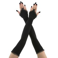 long fingerless gloves handmade stretch fabric arm warmers gothic black 3780