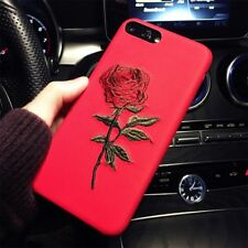 Korean Luxury Chic Embroidery Rose for iPhone 6 6s Plus 7 7 Plus Hard Case Cover