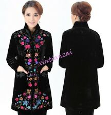 Chinese Womens Embroider Floral Tang suit Jacket Slim Fit Coat Outwear Warm Coat