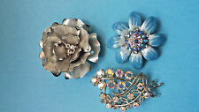 VTG COSTUME MIXED FLOWER ENAMEL MODERN CORO SIGNED AB RHINESTONE PINS BROOCHES