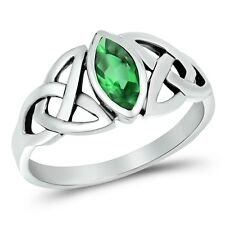 925 Sterling Silver Celtic Trinity Triquetra Knot Ring Emerald CZ  Sz 4-10