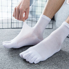 5 Pairs Mens Cotton Toe Five Finger Socks Sports Breathable Casual Dress Solid