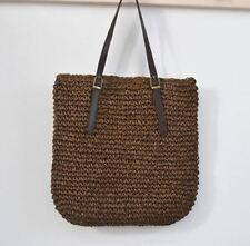 Women Straw Material Solid Color Large Capacity Buckle Shape Shoulder Bag