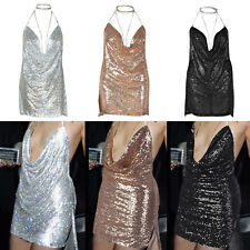 Sexy Women Deep V-neck Chain Sequins Minidress Backless Party Chained Slip Dress