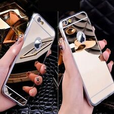For Apple iPhone Models Ultra Luxury Mirror Finish Thin Soft Mirror Metal Case