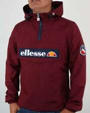 Ellesse Mont II Quarter Zip Smock Jacket in Burgundy - hooded coat windbreaker
