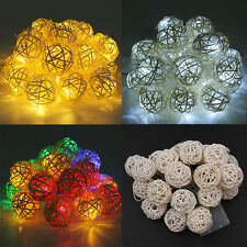 1.2/2.2m Rattan Ball Battery Operated String Light Fairy Wedding Party Home LED
