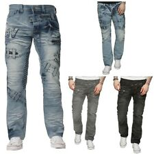 New Designer Mens ETO Funky Style Regular Straight Fit Jeans Blue All Sizes