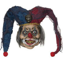 Sinister Jester Mask With Hat Creepy Circus Clown Possessed Halloween IT Scary