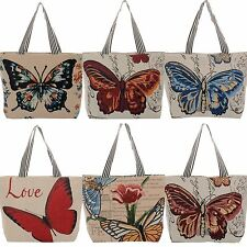 Handbag Butterfly Floral Flower Graphic Tote Bag Multi Color Woven Love Chic New