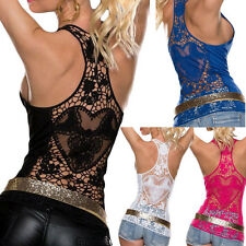 Sexy Womens Crochet Lace Back Sleeveless Tank Vest Tops Clubwear 4 Colors S M L