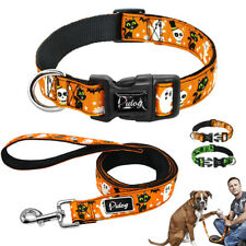 Nylon Halloween Pet Dog Collar and Leash for Dogs Medium Large Adjustable