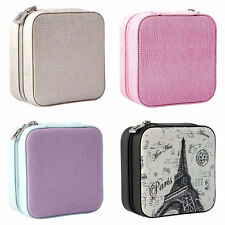 Leather Jewelry Box Necklace Ring Cosmetic Travel Storage Case Organizer Display