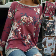 Womens Fashion Long Sleeve Casual Loose Tops T Shirt Ladies Floral Blouse Top