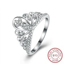Women Queen Crown Zircon Pave Setting Decor 925 Sterling Silver Ring