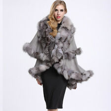 Luxury 100% Knitted Fur Poncho Wool Cape Lady Real Fox Fur collar Coat P0010