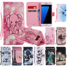 Flip Wallet PU Leather Painted Pattern Case Stand Cover for Samsung Galaxy S8 S7