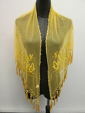Cruise/Belly Dancing Handmade Embroidery Beaded Lace Shawl Hip Scarf Wrap Tassel