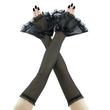 long fingerless gloves handmade arm warmers tulle lace opera gothic black 3745