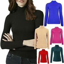 New Womens Ribbed Cotton Polo Roll Turtle Neck Long Sleeve Fitted Jumper Tops