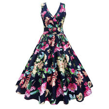 Women's 50's Retro Style Swing Floral Dress V-neck Evening Party Cocktail Dress