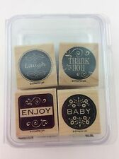 Stampin Up Lovely Labels Rubber Stamp Wood Mount Set of 4