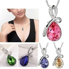 Pretty Crystal Rhinestones Silver Chain Pendant Necklace Jewelry Free Shipping