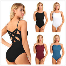 XS-XL Women Adult Leotard Cross Back Strappy Ballet Dance Wear Dancer Bodysuit