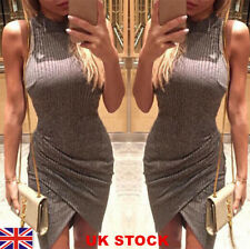 UK Womens Ladies Ribbed Jumper Mini Dress Winter Bodycon Evening Party Dresses