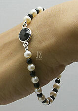 Freshwater Pearl and Onyx Bracelet S/Silver Magnet Clasp Necklace, S/S Studs.