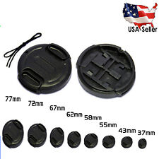 New Front Lens Cap Snap-on Cover for Canon Nikon Olympus Sony Camera w/ String