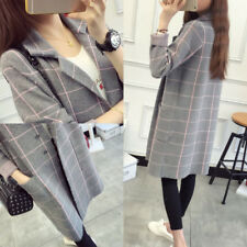 Lattice Women Knitting Coat Long Section Fashion Sweater