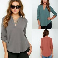 UK Womens Long Sleeve V Neck Chiffon T-Shirt Ladies Casual Loose Tee Tops Blouse