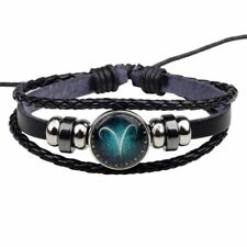 Women & Men Handmade Pu Leather Adjustable Beaded Bracelet (Size Length: 20cm)