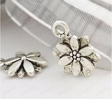 50pcs 14mm Antique Silver Plated Zinc Alloy Flower Charm Jewelry Making
