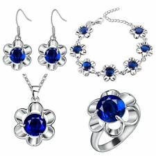 Silver Plated Wedding Pendant Necklace Drop Earrings Ring Women Jewelry Set