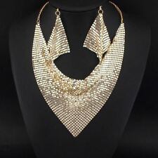 Women Fashion Alloy Metal Round Shape Necklace Earrings Jewelry Set
