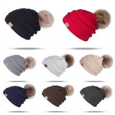 Winter Warm Casual Unisex Knitted Ski Beanie Hat Fleece Lined with Pompon SH