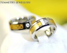 New18K Gold Inlay Tungsten engagement wedding band ring