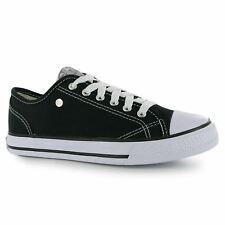 Dunlop Canvas Casual Trainers Womens Black Sneakers Shoes Footwear