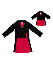 Girl 4-14 and Doll Matching Pink Dress Black Moto Jacket Outfit American Girl