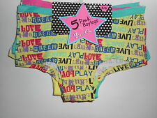 Girls Underwear Boy Shorts Gyrl Co. 5 Pairs Cotton Various Youth Sizes NWT