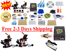 Complete Tattoo Starter Kit 2 Machine Gun 4 Color Ink Tip Power Supply 50Needles
